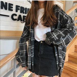 Grey Plaid oversized Flannel